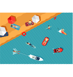 People relax on the beach and swimming in the sea vector