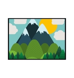 Picture of landscape colorful with mountains vector