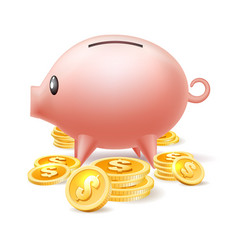 Piggybank with cash coins vector