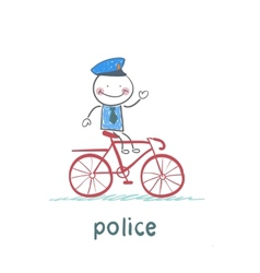 Police riding a bike vector