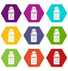 Purified water container icons set 9 vector