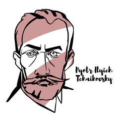 pyotr ilyich tchaikovsky portrait vector image