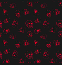 red skulls seamless pattern vector image