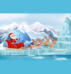 Scene with santa and reindeer on sleigh vector