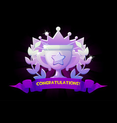 screen game congratulations golden winner cup vector image