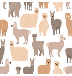 Seamless pattern with cute llamas and alpacas on vector