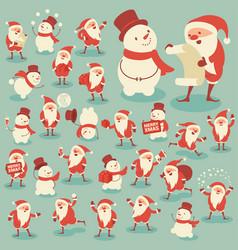 set acting santa and snowman vector image