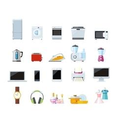 Set of Household Appliances Design Flat vector image