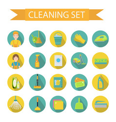 Set of icons for cleaning tools house cleaning vector