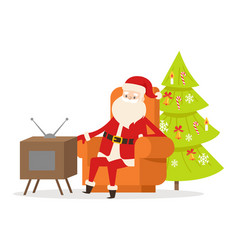 Sitting santa claus in orange armchair near tv set vector