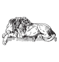 Sleeping lion is a monument to pope clement xiii vector