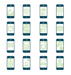 smartphone functions and apps icon set vector image