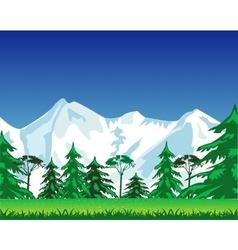 Snow mountains and wood vector