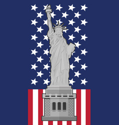 statue of liberty flag of the united states of vector image