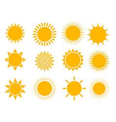 sun icon set vector image
