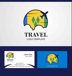 Travel saint vincent and grenadines flag logo vector