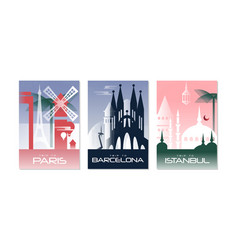 travel world poster with paris barcelona and vector image