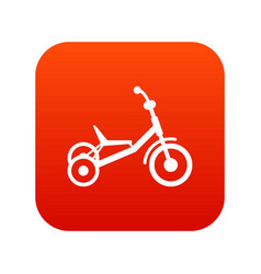 Tricycle icon digital red vector