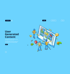 user generated content isometric landing page vector image