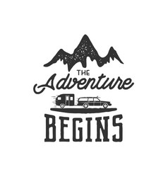 vintage adventure hand drawn label design vector image