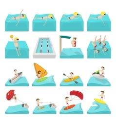Water sport cartoon icons vector