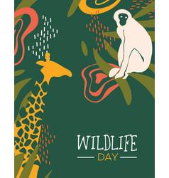 Wildlife day safari card with wild animals vector