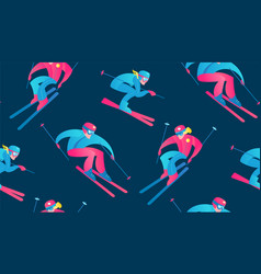 winter sport seamless pattern skiers and snow vector image