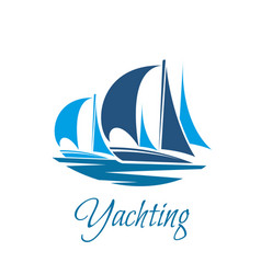Yacht or sailboat icon for yachting club vector