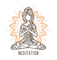 Yoga girl with a mandala stay home and do yoga vector