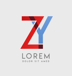 zy logo letters with blue and red gradation vector image