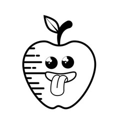 apple fruit cartoon smiley vector image vector image