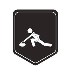 curling pictogram icon shield emblem vector image