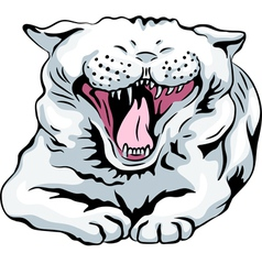 cute white cat yawns vector image