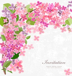 Floral invitation card with blossom lilac With vector image vector image