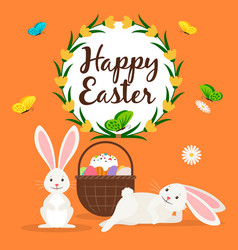happy easter rabbits and basket card vector image