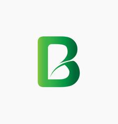 letter b shape leaf logo vector image