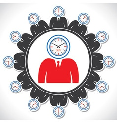 mans face showing different views of a clock vector image