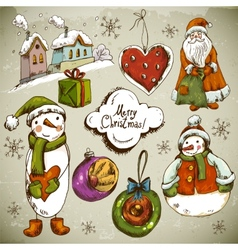 Set of Hand-drawn Christmas Design Elements vector image vector image