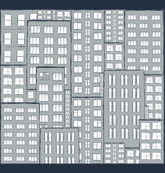 city panorama of houses hand drawn vector image vector image