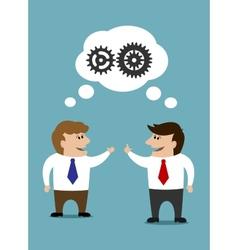 Communicating cartoon businessman vector image