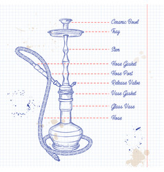 hand drawn hookah vector image