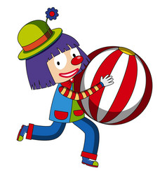 happy clown with beachball vector image