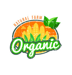 organic food natural farm with corn logo vector image vector image