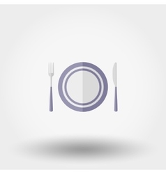 Plate fork and knife vector image vector image