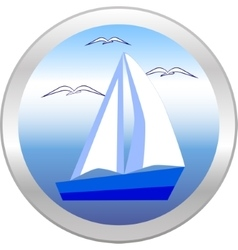 Sailboat and gulls in the circle vector image
