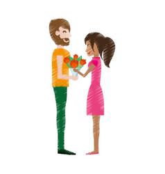 drawing couple romantic bouquet flowers vector image