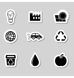 Ecology Icons Set as Labes vector image