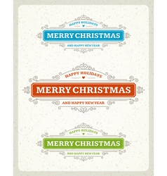 Merry Christmas postcard ornament decoration vector image