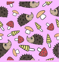 seamless pattern with lovely hand-drawn mushrooms vector image vector image