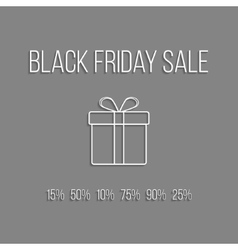 white lettering black friday sale and outline gift vector image vector image